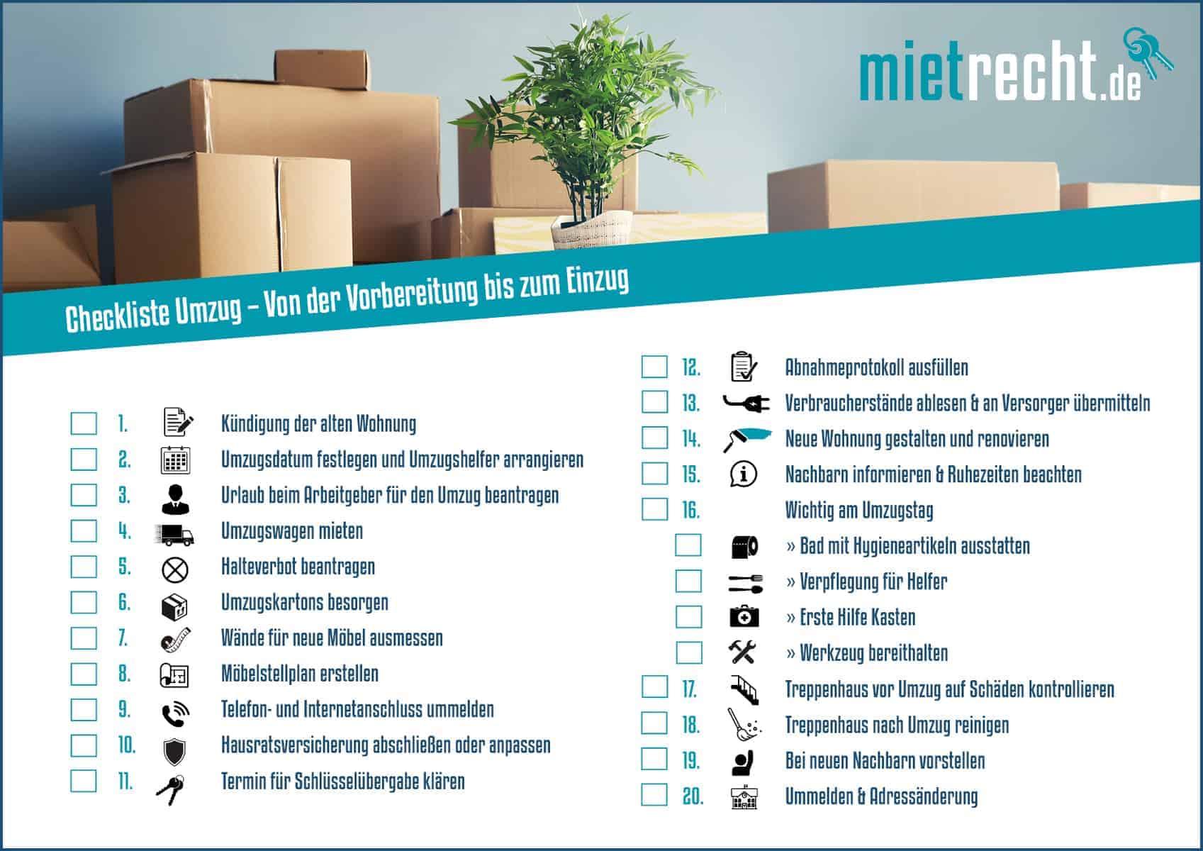 Checkliste Umzug Von Der Vorbereitung Bis Zum Einzug Mieterinfos